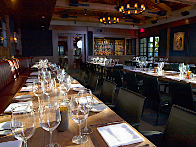 The Ranch offers several private banquet areas, with elegant wood-paneled walls, artwork, and discreet lighting.